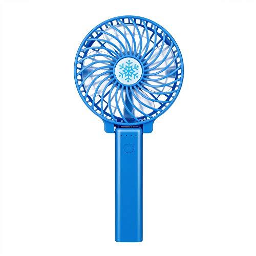 CAOQAO Mini Folding Portable USB Silent Fan Fan, Fan Adjustable aufladbarer zu Haus, Gehen, Wandern, Camping, Blau Mini Folding Usb