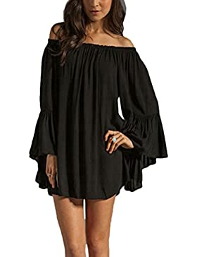 Zhhlaixing Fashion Strapless Loose Leaf Lotus Sleeves Chiffon Dresses Hermosa para las mujer Tops for Womens White...
