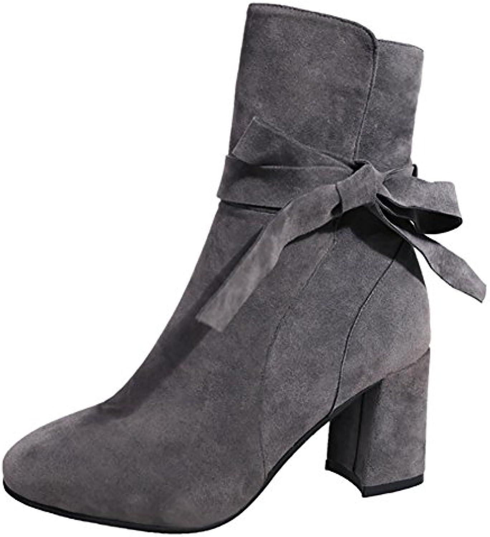XIE Chaussures pour femmes Bottes carrée féminines Automne Hiver Tête carrée Bottes PU Rough avec Dans le tube Zip latéral Bottes...B07JVD14SSParent 11a0d0