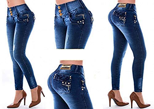 41bd78e88f Pantalón De Mujer Talla 8 Jeans Push-Up Vaquero Levanta Cola Colombiano  Elástico.