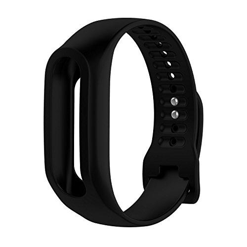 TomTom Touch Correa de reloj de silicona, correa de repuesto para TomTom Touch Cardio Tracker de actividad deportiva GPS Fitness Tracker, color negro