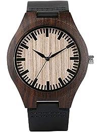 Reloj de Cuarzo Negro de Madera para Mujer, Reloj clásico de Madera Natural Elegante Correa