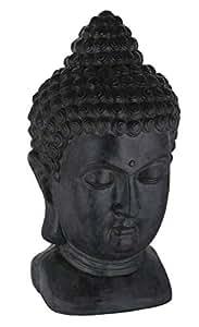 sidco buddha kopf deko statue gro buddhakopf schwarz buddha figur asia feng shui. Black Bedroom Furniture Sets. Home Design Ideas