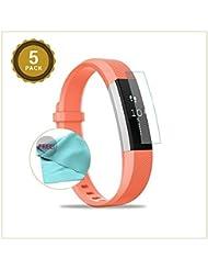 EXINOZ® Fitbit Alta Protector para pantalla Pack of 5 | Alta calidad con 1 año de garantía de reemplazo |Lo mejor para su Smart Watch de Fitbit Alta HR (Alta HR)