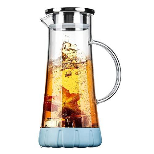 WOQO Wasserkrug aus Glas mit Deckel, Wasserkrug Glaskaraffe, Glaskrug für Heiß/Kaltsaft, Tee, Milch und Kaffee, mit stilvollem Silikon-Untersetzer und Bürste, Wasserglas (1,5 l)