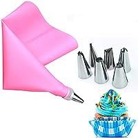 AukCherie Boquillas para repostería, 8 Piezas, de Acero Inoxidable, 6 boquillas, 1 Bolsillo para repostería, 1 acoplador, DIY Kits para decoración de Tartas (pink1)