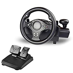 WRISCG Racing Spiel-Lenkrad mit Bremspedal und Ganghebel für Ps4 ps3 ps2 pc xbox360 xboxone nsswitch Android tv Box, Multi-in-1 270 ° drehbares Spiellenkrad