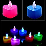 Flameless Candles Heart Shape Multicolor Tea Light Flickering Flicker Fiber Optic Decoration LED Lights For Wedding Birthday Party