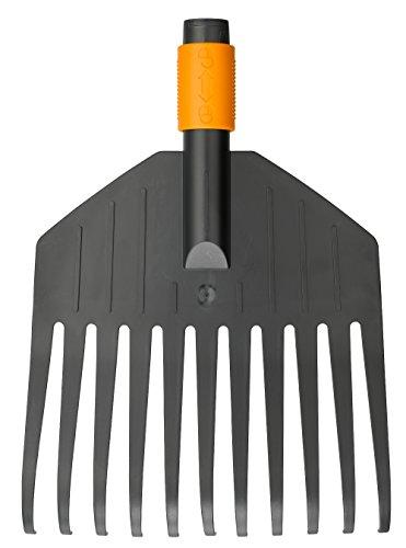 Fiskars Laubbesen, Werkzeugkopf, Klein, 11 Zinken, Breite 21,3 cm, Kunststoff-Zinken, Schwarz/Orange, QuikFit, 1000659