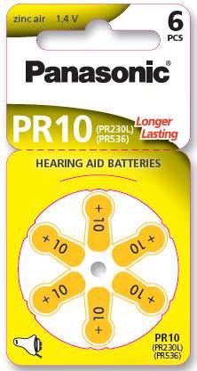 Panasonic PR10 aide auditive Batterie – PR10 Batterie : hearing-aid 65 mAh 1,4 V Zinc Air PR230H pza230h 10 x 230 Poids : 0,3 g AP 3,6 x 5,8 mm A10 S10, etc.