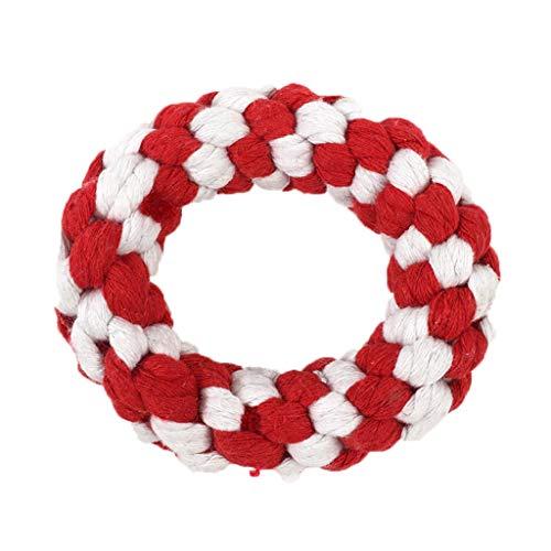 LCY Animale Domestico Ciambella Resistente Cotone Corda Nodo Giocattolo Puro Tessuto Mano Diametro Esterno 10.5 Cm, 3cm Grossolano (Colore : Red)