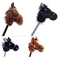 PONY HOBBY HORSE WITH SOUND BLACK & BROWN 2 ASSORTED COLOURS XMAS GIFT TOYS