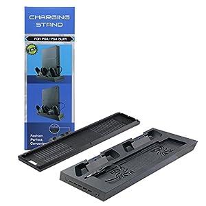 booEy PS4 Slim Controller Ladestation Standfuß mit Kühler Lüfter 5x USB schwarz