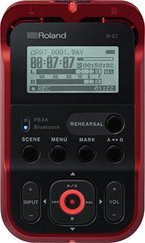 Roland R-07 - Grabadora de audio portátil de alta resolución, Red/black/white