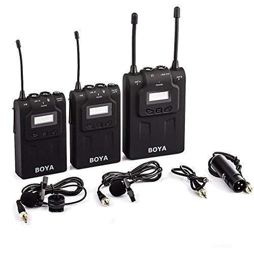 BOYA BY-WM8 UHF Dual-Channel Wireless Mikrofon Systerm mit Mic 2 Transmitters & 1 Receiver für Interviews ENG EPF DV DSLR VIDEO Kameras Camcorder (Boya BY-WM8) Wireless-kamera-video-receiver
