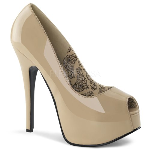 Bordello TEE22 CR Plateau Peeptoe Highheel Stiletto Pump Damen Plateauschuh Heel Cream Pat
