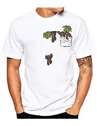 FIRSS Herren Kurzarmshirt,Lustiges Muster Drucken Pullover Rundhals  Sweatshirt Taschen Basic Kurzarm Hemden Einfarbige Oversize 3f0b5afe49