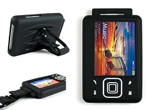 BLACK Silicone Skin Case Cover for Creative Zen & Zen MX 2gb, 4gb 8gb 16gb & 32gb + Screen Protector & Belt Clip