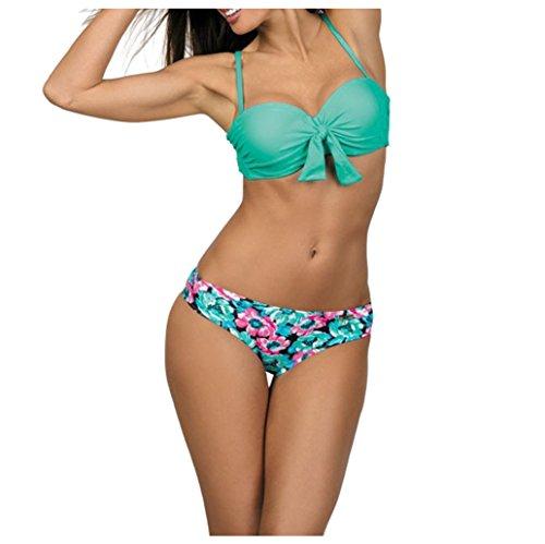 2018 Mujer Brasileño Bikini Push Up con Relleno - Anudadas Bandeau Tops de Bikini Y Tangas de Floral - Traje de Baño Bañadores de Dos Piezas (Verde, S)