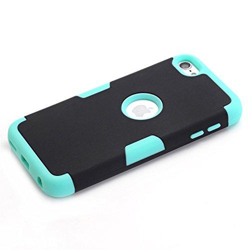 Apple iPod Touch 5/6 Hülle , AyiHuan iPod Touch 5/6 Case - Stoßfest / High Impact 3in1 gemischt Körperpanzer schützen Schutzhülle Apple iPod Touch 5 iPod Touch 6 + 1 Diamant-Staub-Stecker + 1X Stylus, Schwarz / Grün