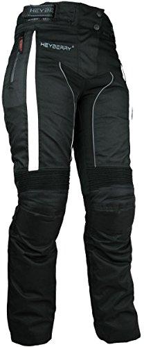 *Heyberry Damen Motorradhose sportlich Textil Schwarz Weiß Gr. XL / 42*