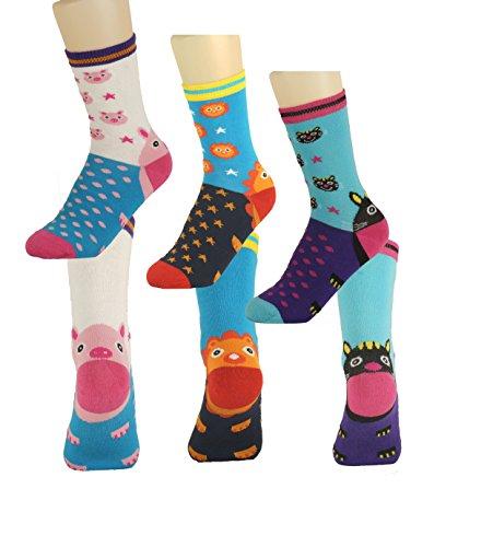 en Socken Strümpfe Lustige Tiere 3 er Set 27-30 (Kinder Strümpfe)