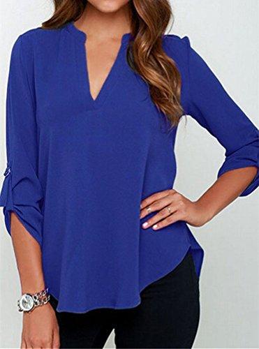 Cfanny - Chemisier - Asymétrique - Uni - Manches Courtes - Femme Long Sleeve Blue