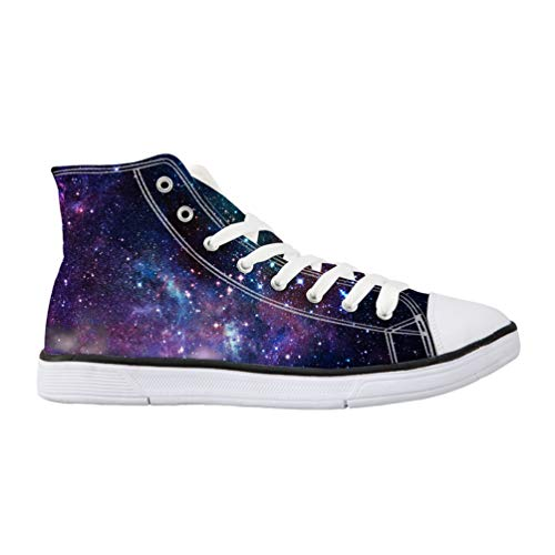 Nopersonality Womens Flat Canvas Shoes Unusual Galaxy Style Classic Hi Top Platform Sneakers Lace Up Comfy Casual Pumps Trainers Purple -