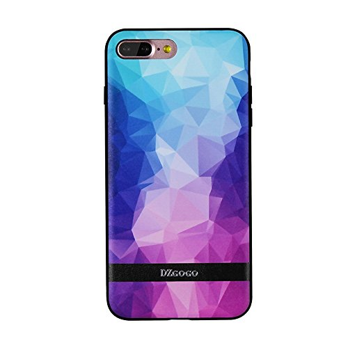 Pour IPhone 7 Plus TPU + PU + PC Irregular Rhombus Texture Combating Case JING ( Color : Red ) Blue