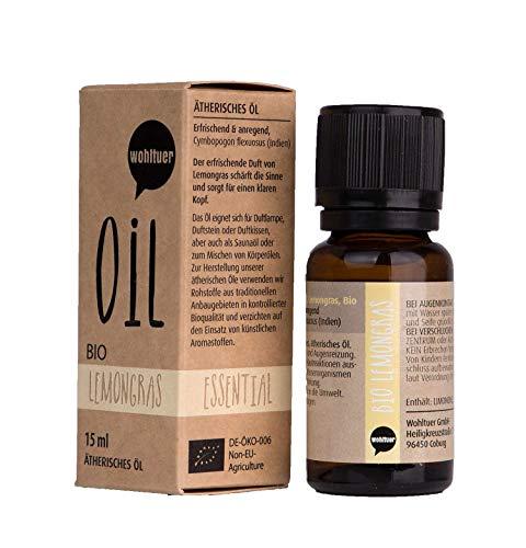 Wohltuer Bio Lemongrasöl Zitronengras Ätherisches Öl Lemongras Bio (15ml) Organic Essential Oil Lemongrass Duftöl Aromaöl