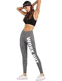 SOLY HUX Femme Pantalon de soprt Leggings Imprimé Slogan Leggings  Sculptants Taille Haute Femme Push-Up ficelles Sport Yoga Collant Gainant… 23da6222ca55