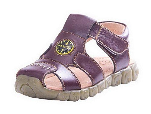 Evedaily Enfant Sandales de Sport de Plein Air Sandales Chaussure Mixte Enfant En Cuir Marron