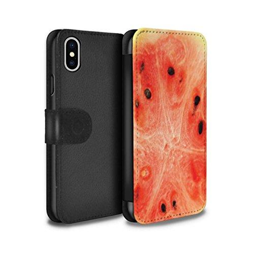 Stuff4 Coque/Etui/Housse Cuir PU Case/Cover pour Apple iPhone X/10 / Raisin Design / Fruits Collection Melon d'eau