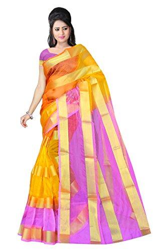 RUHIN Multicoloured (Orange and Magenta) Organza Nylon Polyester Saree (ONP-002)