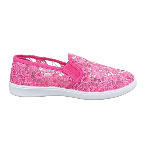 Damen Schuhe Spitze Freizeitschuhe Schnürer Sneakers Low Top Ital-Design Pink