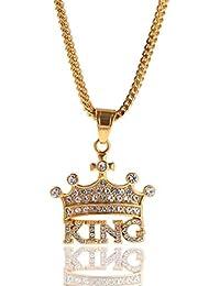 ca5310ea56f0 H.L Collar de los Hombres Hip Hop Corona Rey Acero Inoxidable Rhinestone  Colgante Zircon joyería con