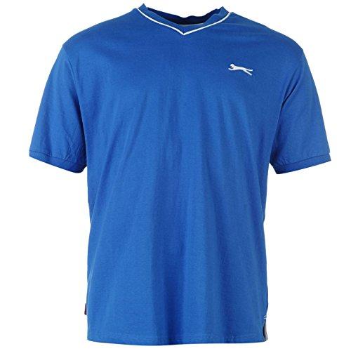 Slazenger Herren V-Ausschnitt T Shirt Kurzarm Tee Top Bekleidung Blau L (Baumwolle, Ärmelloses Top V-ausschnitt, Blaue)