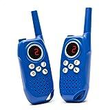 2 x Walkie Talkie für Kinder Funkgeräte 3-5 KM Reichweite 0,5W 3 Kanäle und Taschenlampe für Einkaufen, Freizeitpark, Zelten, Indoor (Blau)