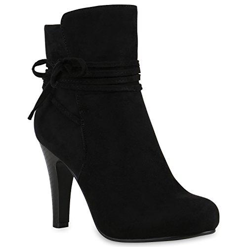 Stiefelparadies Klassische Damen Stiefeletten High Heels Stilettos Schleifen Schuhe 121854 Schwarz 38 | Flandell (High Heel Leder Stiefeletten)