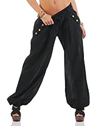 90f629702f Moda Italy Women´s Harem Trousers with elastic waist an belt unicolor  Aladin Pants Yoga