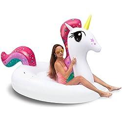 iBaseToy piscina inflable, piscina flotante unicornio gigante, XXL piscina unicornio balsa inflable verano tumbonas playa flotadores y tumbonas para adultos y niños