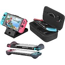 Bestico Kit de Accesorios 3 en 1 Nintendo Switch, Incluye Nintendo Switch Funda de Transporte/Carcasa Protectora para Nintendo Switch/Soporte Ajustable