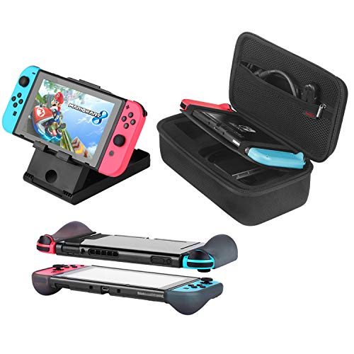 Bestico Kit de Accesorios 3 en 1 Nintendo Switch, Incluye Nintendo Switch Funda de Transporte/Carcasa Protectora para Nintendo Switch/Soporte Ajustable