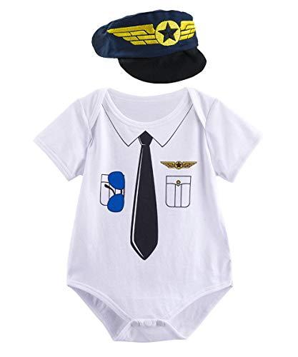 Mombebe Baby Jungen Polizei Halloween Body Kostüm mit Hut (Pilot, 0-3 ()