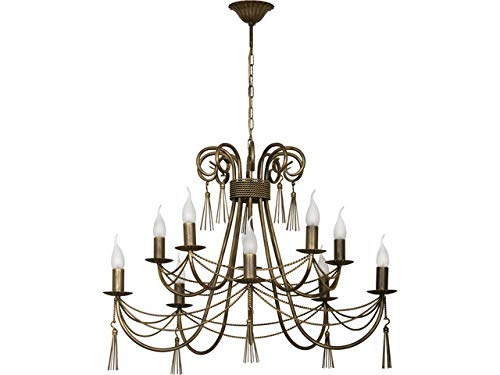 XXL Kronleuchter doppelstufig antikbraun 10flammig Antik Stil dekorative Quasten Seil Optik Hängeleuchte Wohnzimmer rustikal Pendelleuchte Schlafzimmer elegant