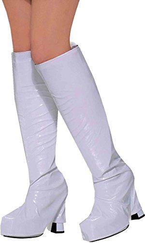 0's Fancy Dress Party Accessory Retro Go Go Boot Top UK, Weiß ()