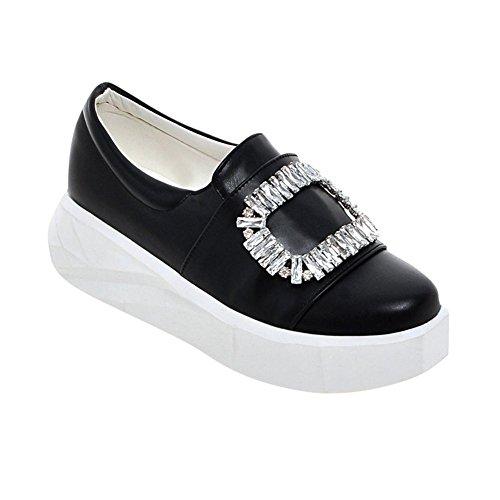 Mee Shoes Damen mit Strass runde Geschlossen Durchgängiges Plateau Schwarz