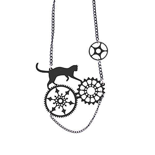 Wansan Schwarze Katze Anhänger Halskette Halloween Schmuck