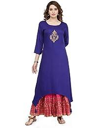 Varanga Women's Women's Blue Viscose Embroidered Kurta