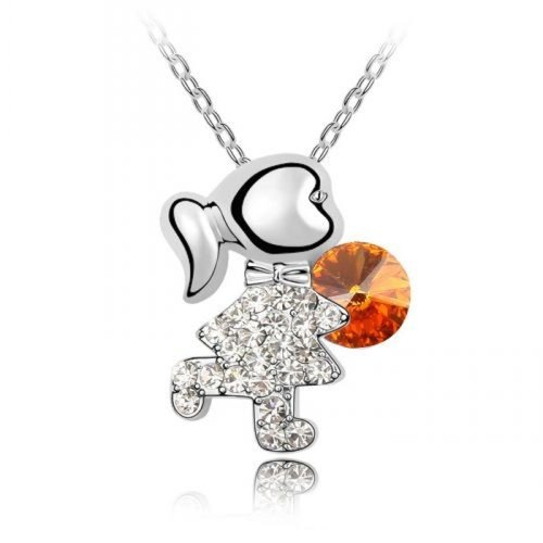 Sparkling Little Girl avec boule colorée charme collier orange